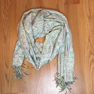 Cream and Multi Color Scarf with Fringe